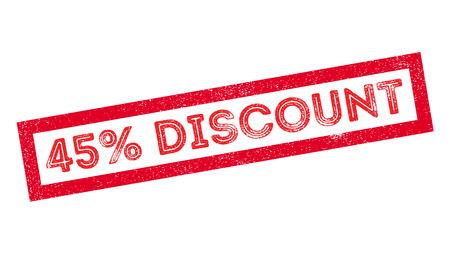 trade off: 45 percent discount rubber stamp on white. Print, impress, overprint. Illustration