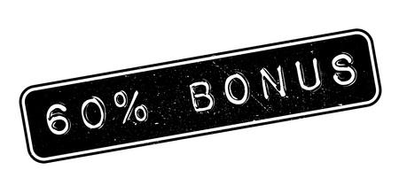 recompense: 60 percent bonus rubber stamp on white. Print, impress, overprint. Illustration