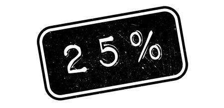 25 percent rubber stamp on white. Print, impress, overprint. Ilustração