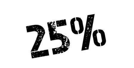 25 percent rubber stamp on white. Print, impress, overprint. Banco de Imagens - 64769488