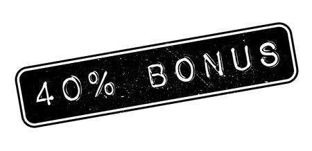 40 percent bonus rubber stamp on white. Print, impress, overprint. Illustration