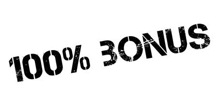 recompense: 100 percent bonus rubber stamp on white. Print, impress, overprint. Illustration