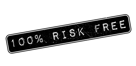 occurrence: 100 percent risk free rubber stamp on white. Print, impress, overprint. Illustration