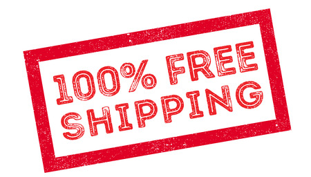 portage: 100 percent free shipping rubber stamp on white. Print, impress, overprint.
