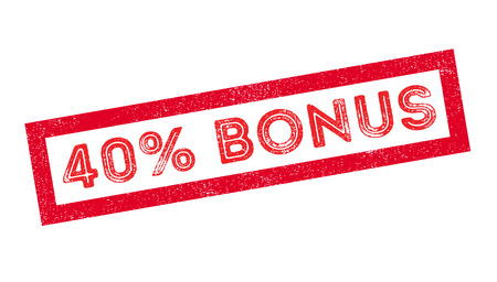 recompense: 40 percent bonus rubber stamp on white. Print, impress, overprint. Illustration