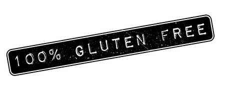 coeliac: 100 percent gluten free rubber stamp on white. Print, impress, overprint.