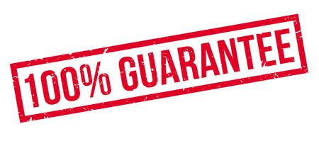 covenant: 100 percent guarantee rubber stamp on white. Print, impress, overprint.