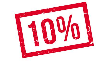 10 percent rubber stamp on white. Print, impress, overprint. Ilustração