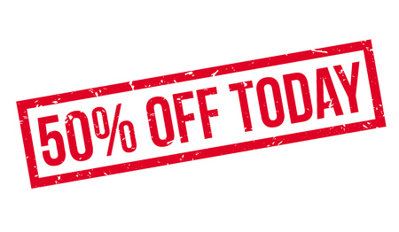 bargaining: 50 percent off today rubber stamp on white. Print, impress, overprint.