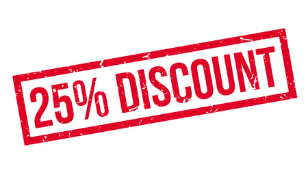 trade off: 25 percent discount rubber stamp on white. Print, impress, overprint. Illustration