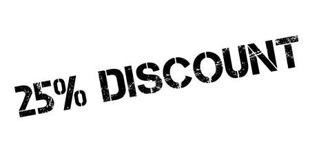 25 cents: 25 percent discount rubber stamp on white. Print, impress, overprint. Illustration