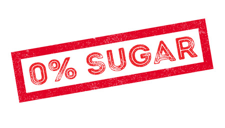 Zero percent sugar rubber stamp on white. Print, impress, overprint.