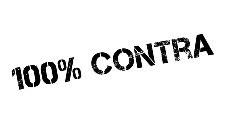 100 percent contra rubber stamp on white. Print, impress, overprint.