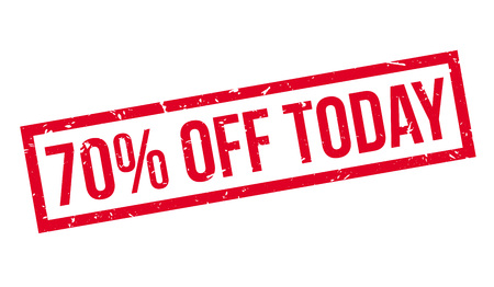 bargaining: 70 percent off today rubber stamp on white. Print, impress, overprint.