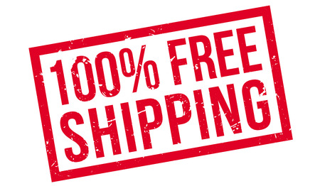 haulage: 100 percent free shipping rubber stamp on white. Print, impress, overprint.