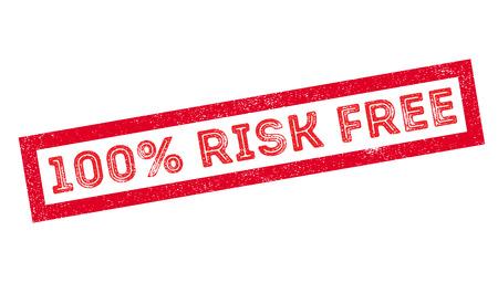 misfortune: 100 percent risk free rubber stamp on white. Print, impress, overprint. Illustration