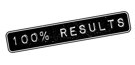 retort: 100 percent results rubber stamp on white. Print, impress, overprint. Illustration