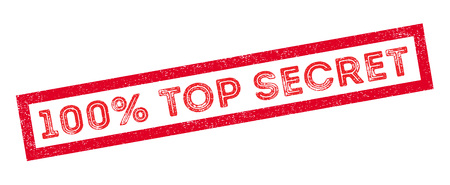 stealthy: 100 percent top secret rubber stamp on white. Print, impress, overprint.