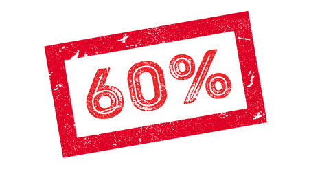 60 percent rubber stamp on white. Print, impress, overprint. Ilustração