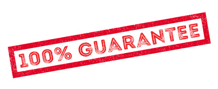 pacto: 100 por ciento de garantía sello de goma en blanco. Imprimir, impresionar, sobreimpresión.