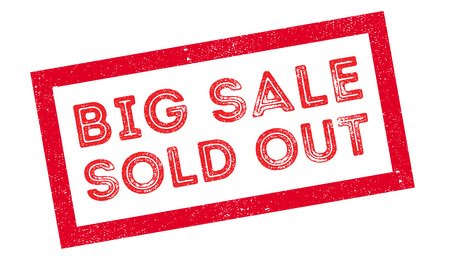 Big sale sold out rubber stamp on white. Print, impress, overprint.