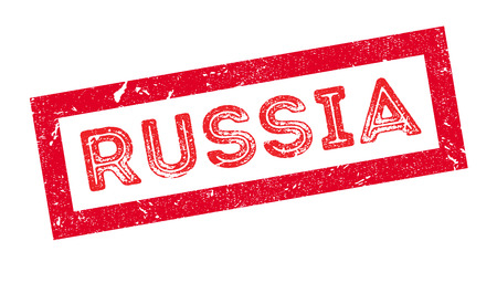 land mark: Russia rubber stamp on white. Print, impress, overprint.
