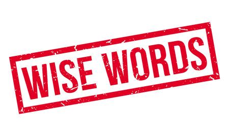 enlightened: Wise Words rubber stamp on white. Print, impress, overprint.