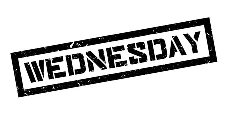 wednesday: Wednesday rubber stamp on white. Print, impress, overprint.