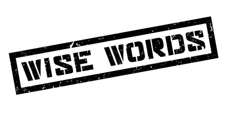 astute: Wise Words rubber stamp on white. Print, impress, overprint.