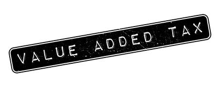 levy: Value Added Tax rubber stamp on white. Print, impress, overprint. Illustration