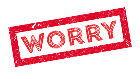 apprehension: Worry rubber stamp on white. Print, impress, overprint. Illustration