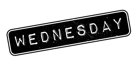 purely: Wednesday rubber stamp on white. Print, impress, overprint.