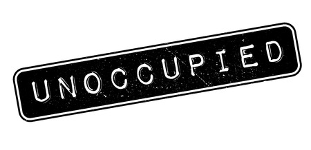 unoccupied: Unoccupied rubber stamp on white. Print, impress, overprint.