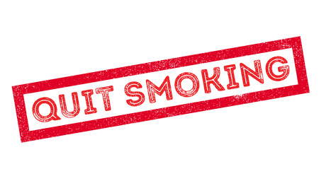 quit: Quit Smoking rubber stamp on white. Print, impress, overprint. Illustration