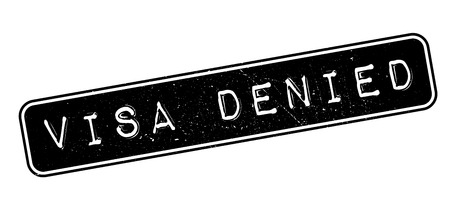 Visa Denied rubber stamp on white. Print, impress, overprint.