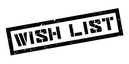 yearning: Wish List rubber stamp on white. Print, impress, overprint.