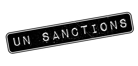 sanction: UN Sanctions rubber stamp on white. Print, impress, overprint.