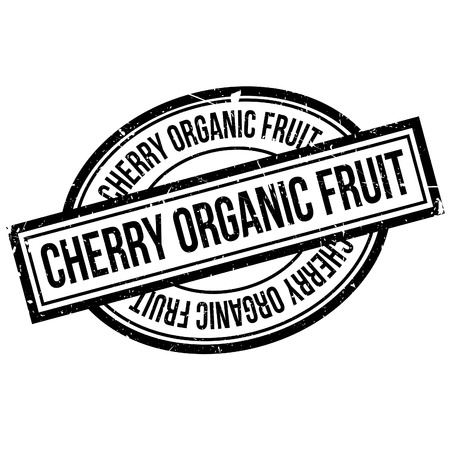 Cherry Organic Fruit rubber stamp. Grunge design with dust scratches. Effects can be easily removed for a clean, crisp look. Color is easily changed.