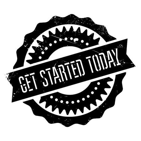 provoke: Get started today stamp. Grunge design with dust scratches. Effects can be easily removed for a clean, crisp look. Color is easily changed. Illustration
