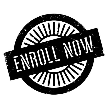 enroll: Enroll now stamp. Grunge design with dust scratches. Effects can be easily removed for a clean, crisp look. Color is easily changed.