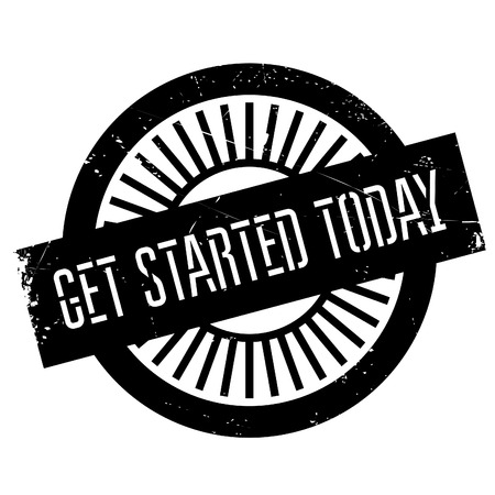 enchant: Get started today stamp. Grunge design with dust scratches. Effects can be easily removed for a clean, crisp look. Color is easily changed. Illustration