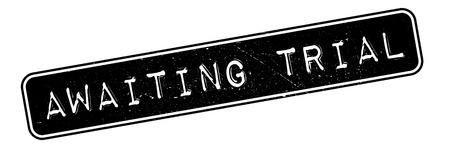 awaiting: Awaiting Trial rubber stamp. Grunge design with dust scratches. Effects can be easily removed for a clean, crisp look. Color is easily changed. Illustration