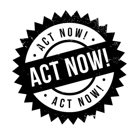 Act now stamp. Grunge design with dust scratches. Effects can be easily removed for a clean, crisp look. Color is easily changed. Illustration