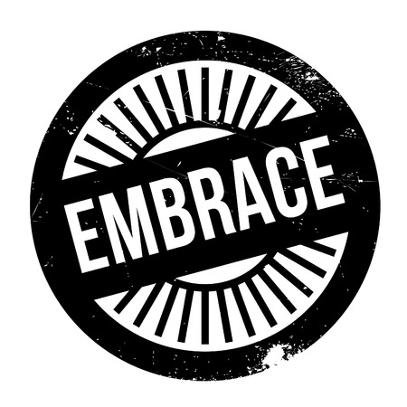encircle: Embrace stamp. Grunge design with dust scratches. Effects can be easily removed for a clean, crisp look. Color is easily changed.