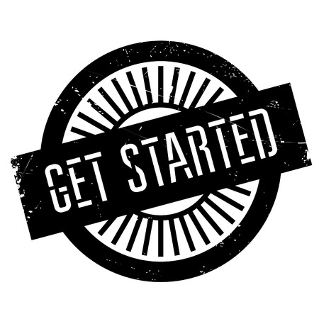 commence: Get started stamp. Grunge design with dust scratches. Effects can be easily removed for a clean, crisp look. Color is easily changed.