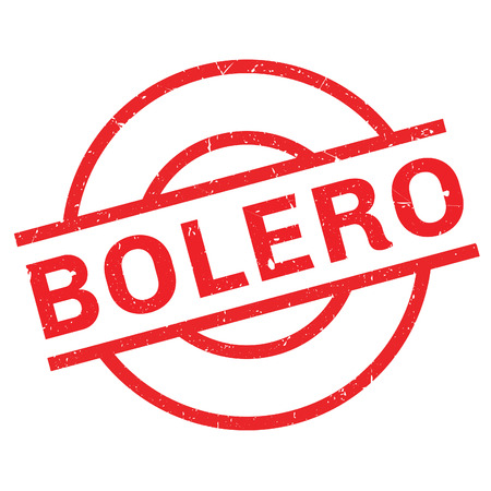Bolero rubber stamp. Grunge design with dust scratches. Effects can be easily removed for a clean, crisp look. Color is easily changed.