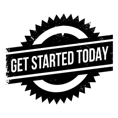 stimulate: Get started today stamp. Grunge design with dust scratches. Effects can be easily removed for a clean, crisp look. Color is easily changed. Illustration