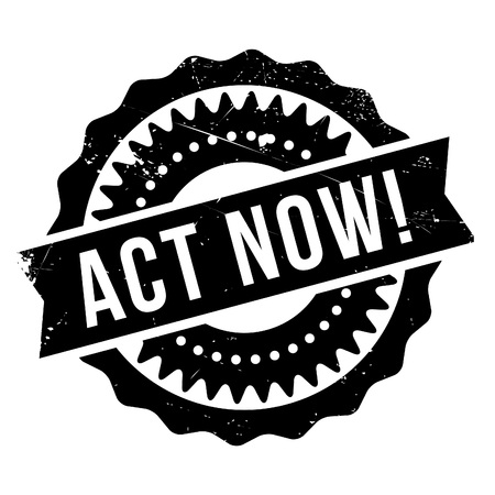 Act now stamp. Grunge design with dust scratches. Effects can be easily removed for a clean, crisp look. Color is easily changed. Stock Illustratie