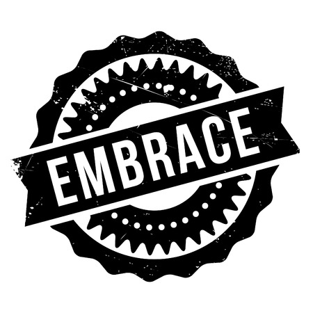 Embrace stamp. Grunge design with dust scratches. Effects can be easily removed for a clean, crisp look. Color is easily changed.