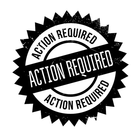 Action required stamp. Grunge design with dust scratches. Effects can be easily removed for a clean, crisp look. Color is easily changed.